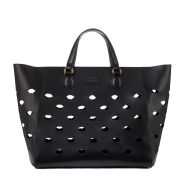 Lulu Guinness Francesca Lip Perforated Leather Tote Bag - Black