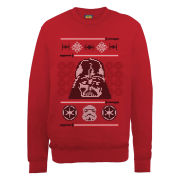 Star Wars - Christmas Darth Vader Head Knit Effect Sweatshirt - Red