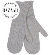 Johnstons of Elgin Exclusive to Harper's Bazaar Cable Knit Cashmere Mittens - Silver/Grey