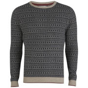Jack & Jones Premium Men's Vincent Crew Neck Knit - Dark Navy/White