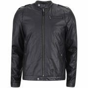 Ringspun Men's Enfield Leather Look Biker Jacket - Black