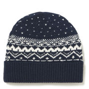 French Connection Evan Fair Isle Beanie Hat - Marine Blue/Cuba White