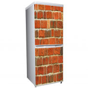 Red Brick Two-Door Fridge or Freezer Vinyl Wrap