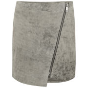 Gestuz Women's Jada Leather Zip Skirt - Grey