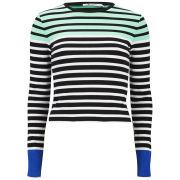 T by Alexander Wang Women's Stretch Cotton Engineer Stripe Long Sleeve T-Shirt - Seafoam and Black