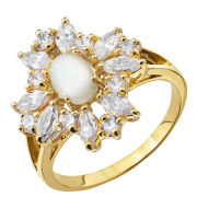 Gold Plated Oval Opal Flower Ring