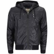 Ringspun Men's Hackney Leather Look Hooded Jacket - Black