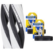 Vittoria Zaffiro Pro Clincher Road Tyre Twin Pack with 2 Free Inner Tubes - Black/White - 700c x 23mm