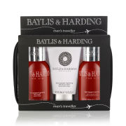 Baylis & Harding Black Pepper and Ginseng Wash Bag - Hair, Face and Body Wash (100ml) and Aftershave Balm (50ml)