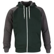 Brave Soul Men's Eden Raglan Contrast Hooded Zip Through - Ivy Green/Charcoal Marl