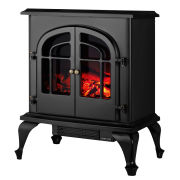 Warmlite 2000W Log Effect Stove Fire - High Gloss Black