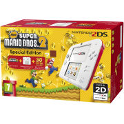 Nintendo 2DS White & Red Console: Bundle includes New Super Mario Bros. 2