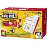 Nintendo 2DS White & Red Console: Bundle includes New Super Mario Bros. 2