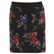 Damned Delux Women's Scuba Blurred Floral A-Line Skirt - Multi