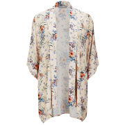 LOVE Women's Peach Flower Print Kimono - Peach