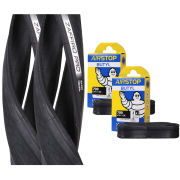 Vittoria Zaffiro Pro Clincher Road Tyre Twin Pack with 2 Free Inner Tubes - Black 700c x 23mm