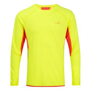 RonHill Men's Vizion Long Sleeve Crew Neck Top - Fluo Yellow/Fire