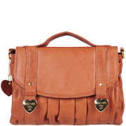Suzy Smith Leather Cross Body Satchel Bag - Tan