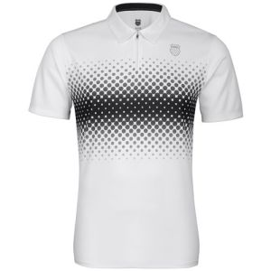 K-Swiss Men's Fading Stripe Polo Shirt - White/Black