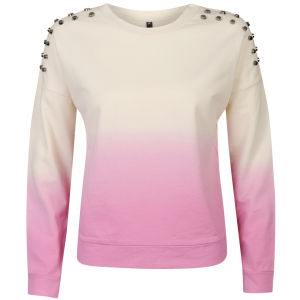 Influence Women's Dip Dye Stud Shoulder Sweatshirt - Pink