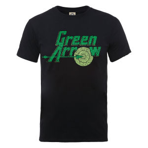 DC Comics Men's Green Arrow Logo T-Shirt - Black