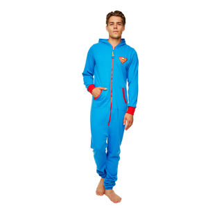 DC Comic Men's Superman Adult Jumpsuit - Blue