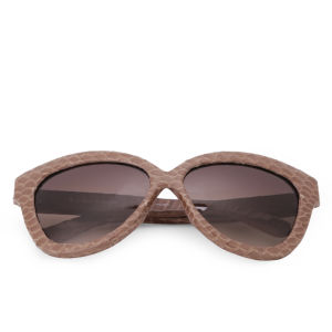 Linda Farrow Curved Square Snakeskin Sunglasses - Taupe