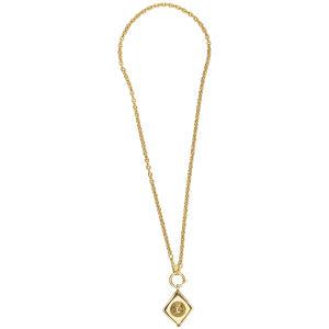 Susan Caplan Vintage Chanel Gilt Metal Diamond Shape 'CC' Logo Pendant