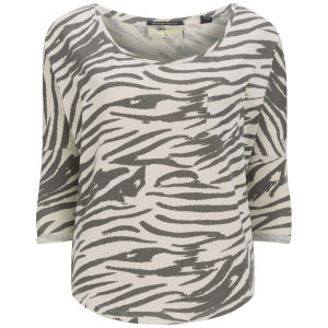 Maison Scotch Women's Zebra Print Long Sleeve T-Shirt - Vintage White