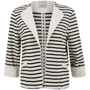 Great Plains Women's Breton Stripe Open Front Jacket - Double Cream/Black