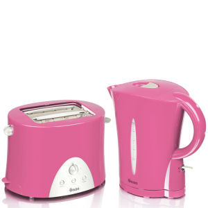 Swan Kettle and Toaster Twin Pack - Pink