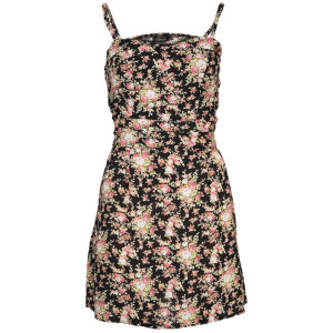 Club L Women's Strappy Floral Skater Dress - Black