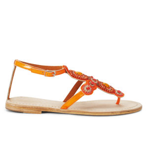 Ilse Jacobsen Women's Embellished Leather Sandals - Orange