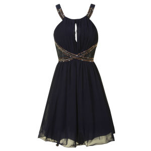 Little Mistress Women's Lace Insert Embellished Prom Dress - Navy