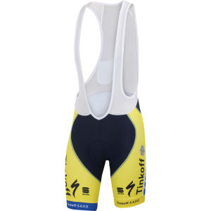 Tinkoff Saxo Team Replica Bodyfit Pro Bib Shorts - Yellow/Blue