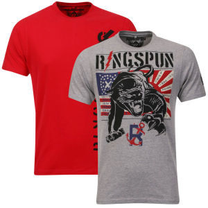 Ringspun Men's Panthers 2-Pack Graphic T-Shirt - Grey Marl/Red