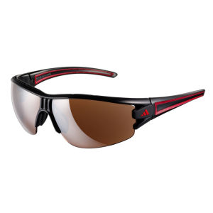 adidas Evil Eye Halfrim Wrap Sunglasses - Shiny Black/Red - L