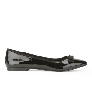 Miss KG Women's Nanette Patent Bow Front Pointed Flats - Black