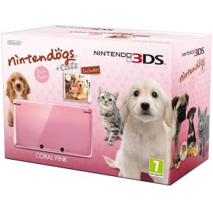 Nintendo 3DS Console (Coral Pink) Includes Nintendogs + Cats