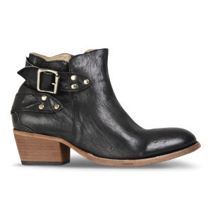 H Shoes by Hudson Women's Bora Leather Heeled Ankle Boots - Black