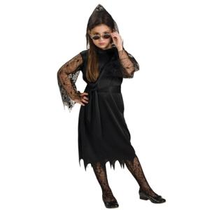 Gothic Lace Vampiress Girls Fancy Dress Costume