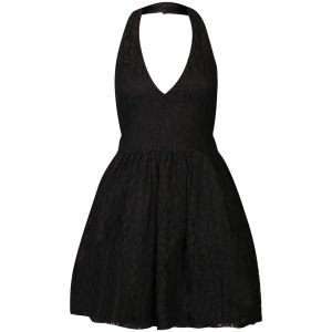 Club L Women's Lace Halter Neck Skater Dress - Black