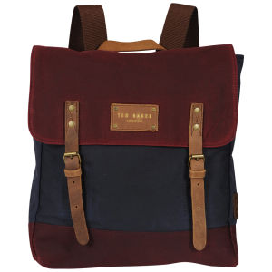 Ted Baker Blokruk Colour Block Waxed Canvas Rucksack - Dark Red