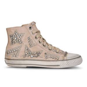 Ash Women's Vibration Star Studded Leather Trainers - Taupe