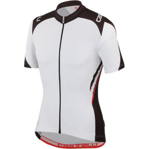 Castelli Vincente Full Zip Jersey - White/Black