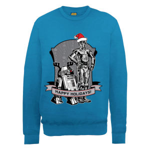 Star Wars Christmas Happy Holiday Droids Sweatshirt - Royal Blue Merchandise |