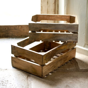 Nkuku Ahanti Mango Wood Storage Boxes - Natural - Small (38x23cm)