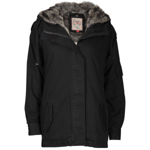 IL2L Women's Fur Trimmed Parka Jacket - Black