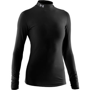 Under Armour Women's Coldgear Compression Mock Long Sleeve Top - Black/Silver