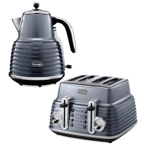 De'Longhi Scultura 4 Slice Toaster and Kettle Bundle - Gun Metal High Gloss